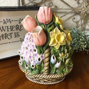 PartyLite Spring Floral Basket Votive Holder